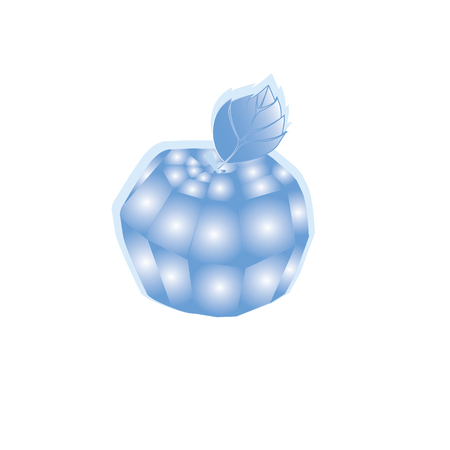 Icy blue apple on a white background Illustration