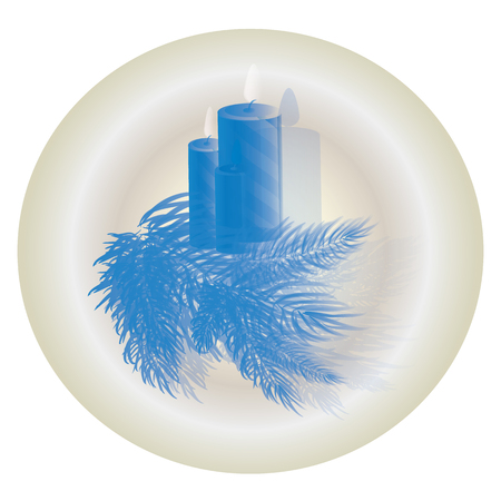 Christmas candles with fir free blue