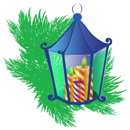 lantern with candles and fir branches