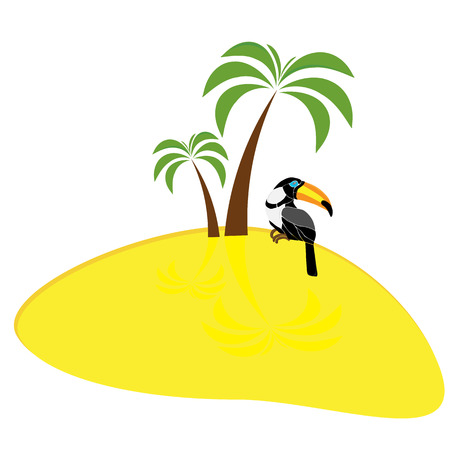 Floral composition exotic tropical birds toucan and parrot sitting on a palm banana leaves and Strelitzia flower. Print nature fashion illustration painting jungle wallpaper on a white background Stock Photo