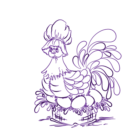 holiday, chicken, purple, backgroundChicken on eggs purple Happy Easter Illustration