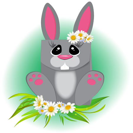Cute ostern rabbit vector illustration. Easter cartoon bunny isolated on green background.