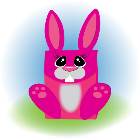 Cartoon trendy style cute laughing bunny mascot with big pink gift box icon. Simple gradient  illustration.