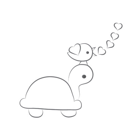Romantic tortoise, bird love