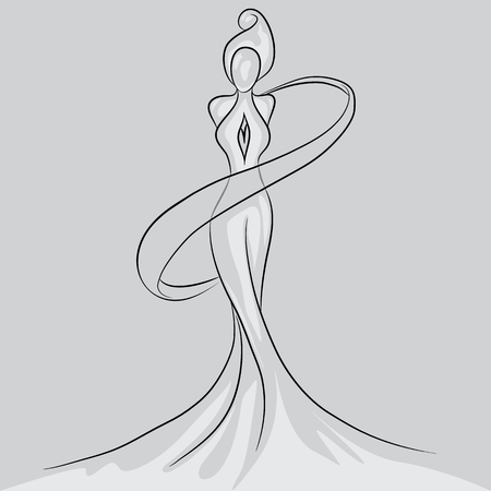 Statuette of a girl silhouette Illustration