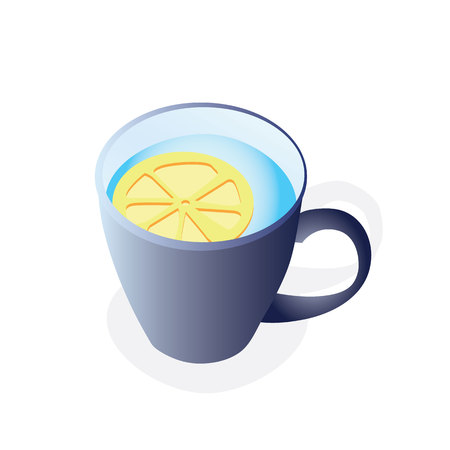 A cup of tea with lemon Illustration