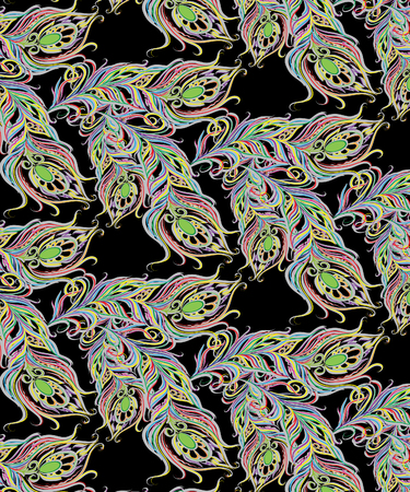 Feather multicolored pattern on a black background Stock Photo - 84545285