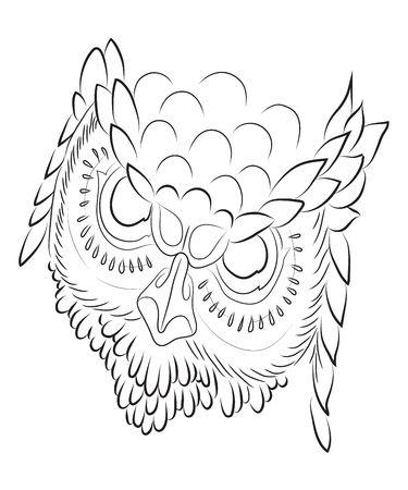 Owl is a wise and menacing sight of silhouette.Filin Stock Photo