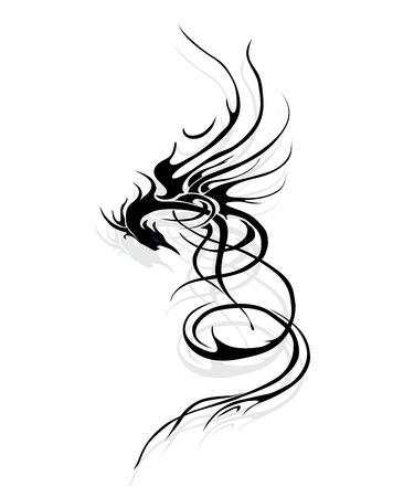 Draak mythisch met schaduw