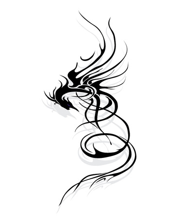 Dragon mythical with shadow Illustration