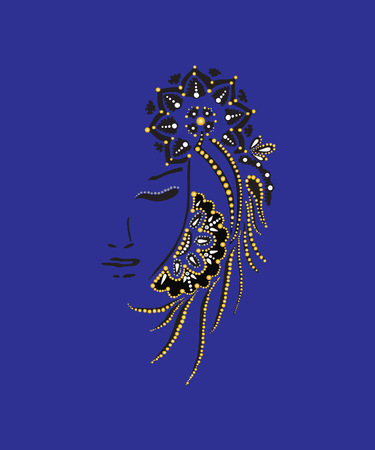 Silhouette of a girl with pearls golden and blue background