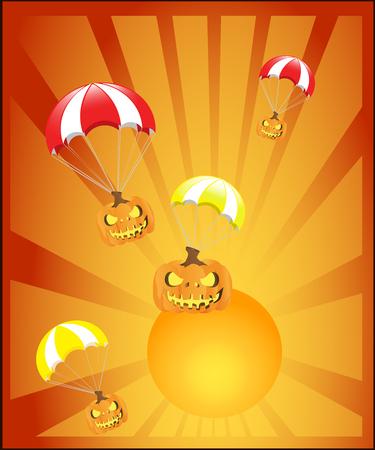 P - Children learning alphabet education set. Pig, parachute, pumpkin, pair, paper penguin purple Illustration
