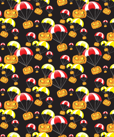 Halloween Pattern Black Background Illustration