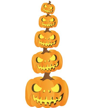 Halloween pyramid of evil pumpkins