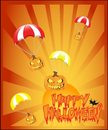 happy halloween pumpkin on parachutes Stock Vector - 86377615