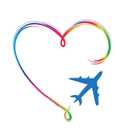airplane of lovers 1 Stock Vector - 86632998