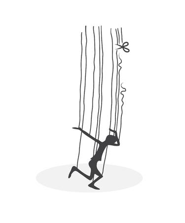man rescue on the thread Illustration