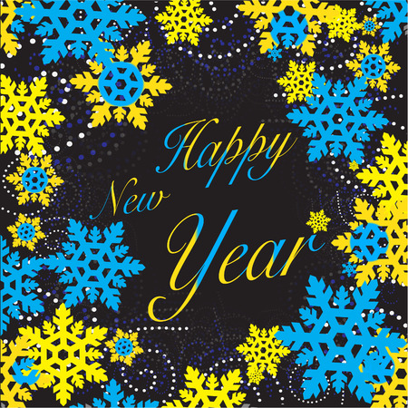 New Year snowflakes blue yellow Stock Photo - 86902361