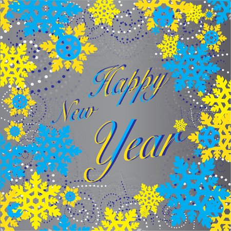 New Year background with gray snowflakes blue yellow Stock Photo - 87010510