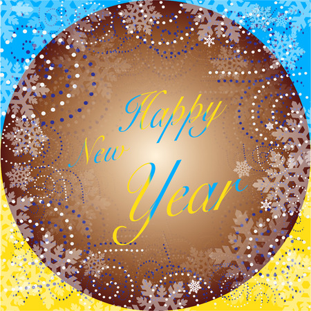 New Year background with blue and yellow Stock Vector - 86951659