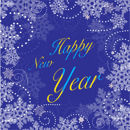 New Year background with blue snowflakes