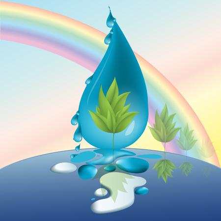protect nature, wood, drops, rainbow eco Illustration