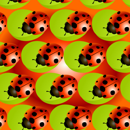 a pattern of ladybugs Stock Vector - 87379092