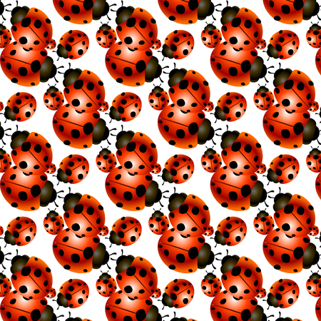 happy family: Pattern of a family of ladybugs