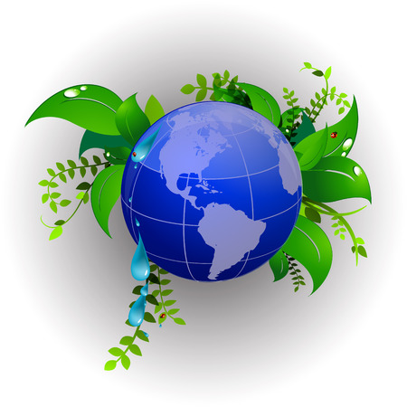 green planet eco nature, ladybug Stock Vector - 87519665