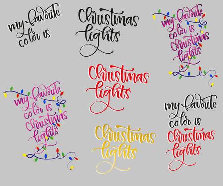 Merry Christmas Lettering Design Set. Vector illustration EPS10 Illustration