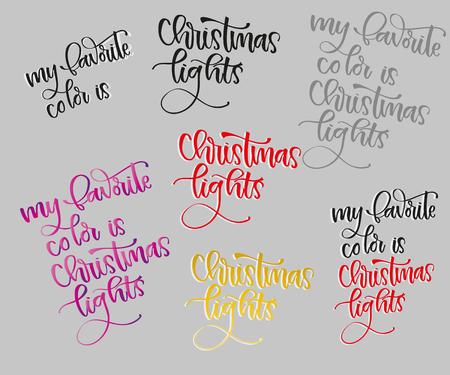 Merry Christmas Lettering Design Set. illustration happy, text,