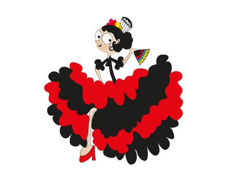 Lady Dancer Isolated On White Background Traditional spanish flamenco. Stock Photo