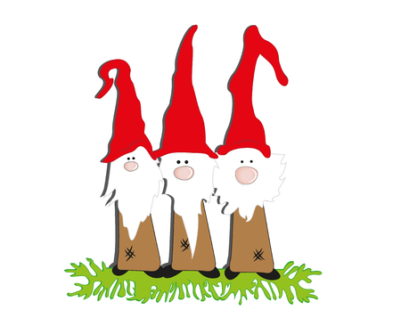 Set of Cute Cartoon Gnomes isolated on a white background