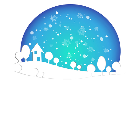 Merry Christmas and Happy New Year 2019 of snowy home town with typography font message. Blue color Paper art and digital craft Illustration  celebrate invitation wallpaper card. Holiday winter Stock Vector - 115921583