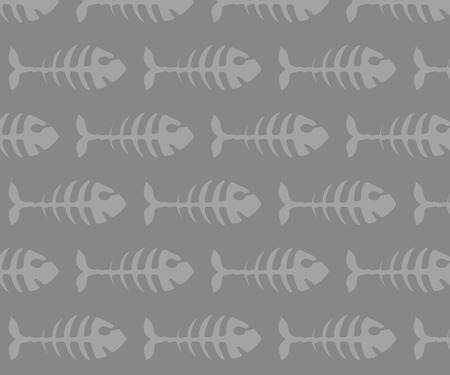 Fish bones seamless pattern. Gold fish vector illustration