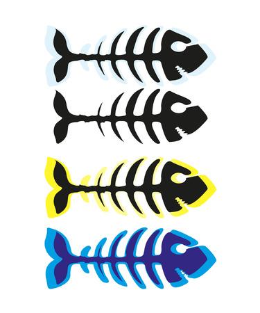 Fish skeleton  icon illustration isolated on white background Stock Vector - 126086840