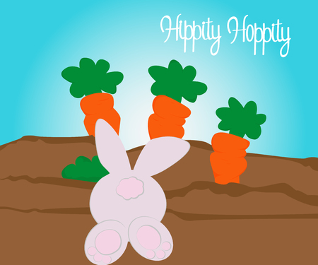 Happy easter symbols painted color pastel in kids style, sun, chicken, egg, rabbit, carrot, star Stock Photo - 126086849