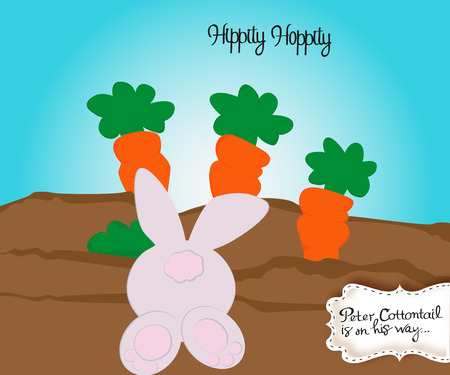 Paper art of Bunny in carrot and Easter eggs, Happy Easter celebration concept, vector art and illustration. Stock Photo