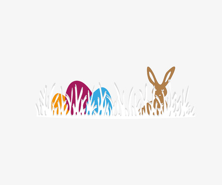 Happy Easter greeting card. Vector illustration Bunny and eggs