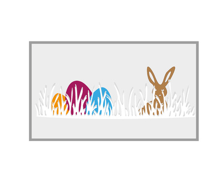 Happy easter day. Celebration. banner for Easter day with a blue background, green grass and colored eggs