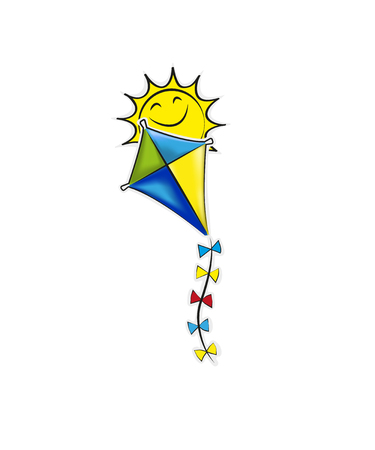 Travel Logo kite and bright sun summer, cloud, blue, Stock Photo - 126087006