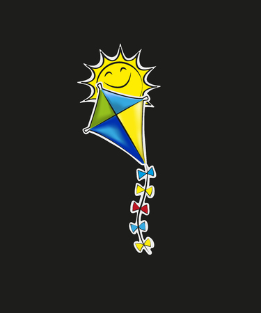 Hand holding kite over cloudy sky, freedom and easiness emotional concept,  modern style paper cut 3d illustration.