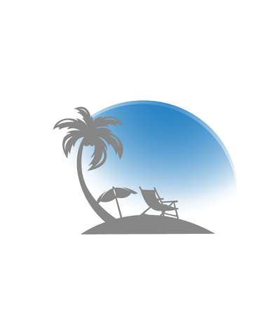 Umbrella and sun lounger on the beach and a palm tree. Beach chair, ball and starfish with sea on tropical background.  illustration in flat style Stock Photo