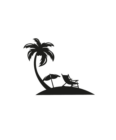 Beach view with lounger and parasol, vector sketch illustration. Sunny summertime scene with palms and sea. Banco de Imagens