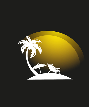Umbrella, sun lounger and palm tree on a beach in flat style isolated on white background. Beach equipment. Leisure and travel concept. Vector illustration