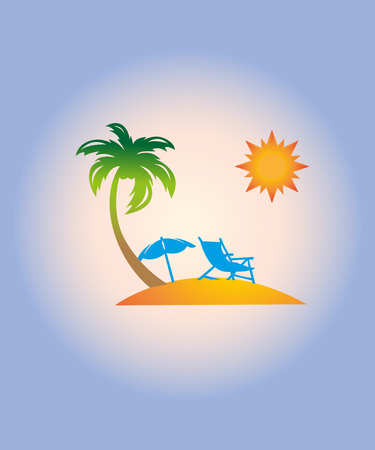 Vector travel and summer beach vacation relax icon Illustration