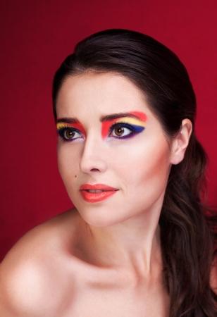 eyemakeup: Portrait of a beautiful girl with colorful eyemakeup Stock Photo