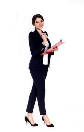 woman in suit: Happy successful business woman with red folder Stock Photo
