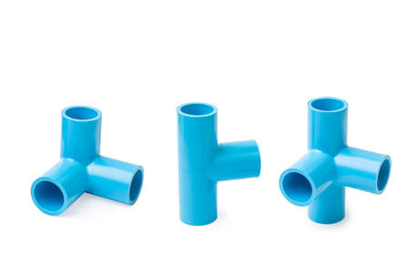 Pvc pipe fitting ,PVC Pipe connections on white background