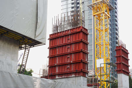 Steel Formwork (Shuttering) for Concrete poles ,Construction of the building taller structures. modular steel frame formwork.